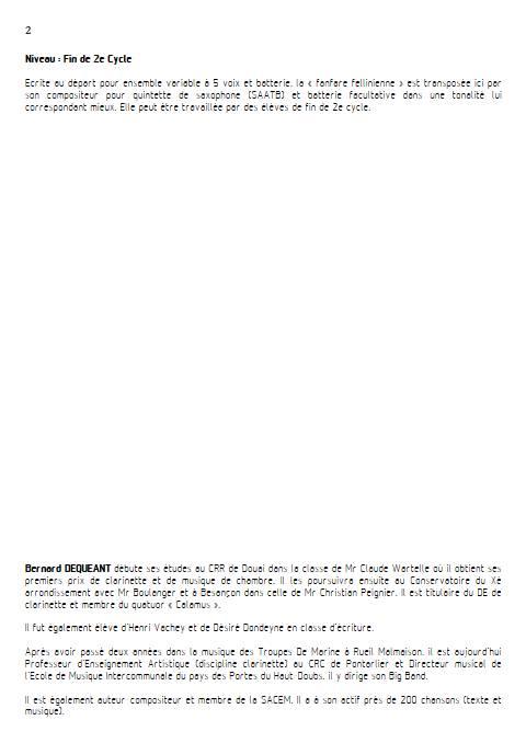 Fanfare Fellinienne - Quintette de Saxophones - DEQUEANT B. - Educationnal sheet