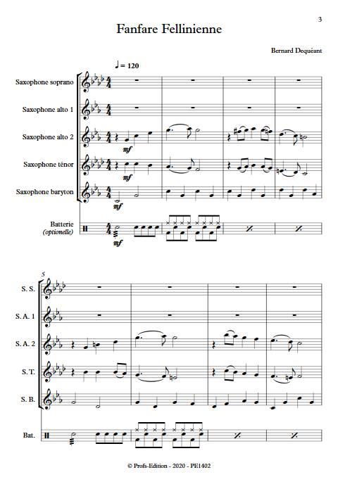 Fanfare Fellinienne - Quintette de Saxophones - DEQUEANT B. - app.scorescoreTitle