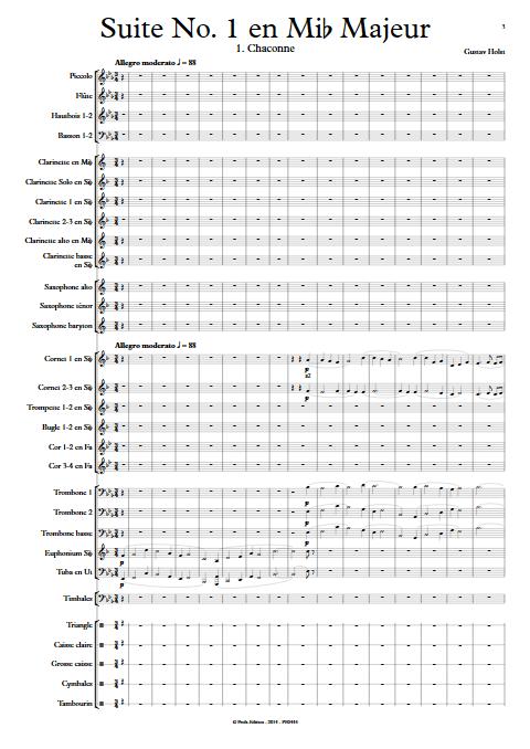 1ere Suite en Mib - Orchestre d'Harmonie - HOLST G. - app.scorescoreTitle