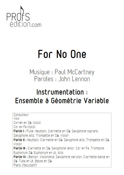 For no One - Ensemble Variable - MCCARTNEY P. - front page
