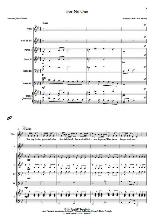 For no One - Ensemble Variable - MCCARTNEY P. - app.scorescoreTitle