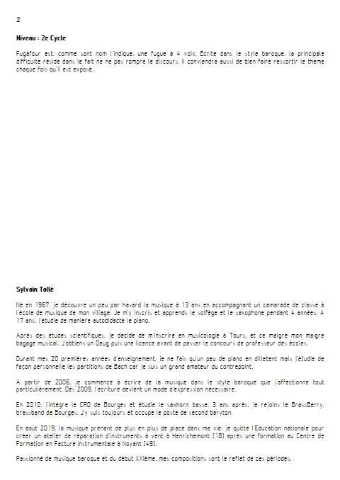 Fugafour - Quatuor à vents - TALLE S. - Educationnal sheet