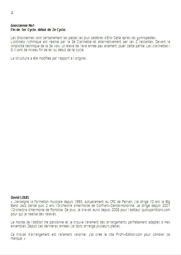 Gnossienne n°1 - Trio Clarinettes - SATIE E. - Educationnal sheet
