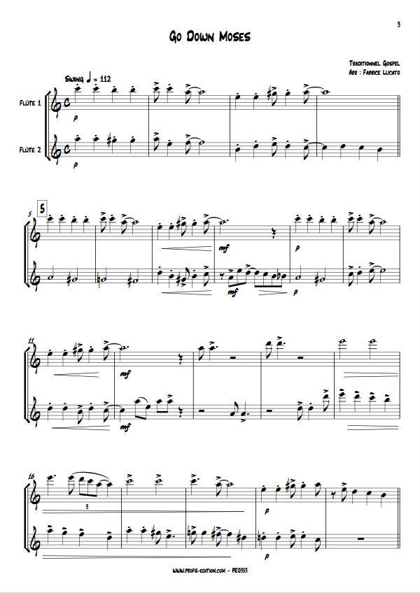Go Down Moses - Duo de Flûtes - TRADITIONNEL GOSPEL - app.scorescoreTitle