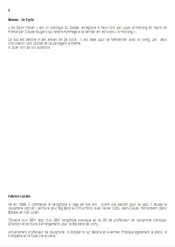 Go Down Moses - Duo de Saxophones - TRADITIONNEL GOSPEL - Educationnal sheet