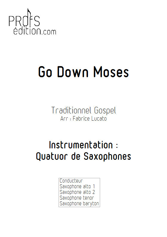 Go Down Moses - Quatuor de Saxophones - TRADITIONNEL GOSPEL - front page