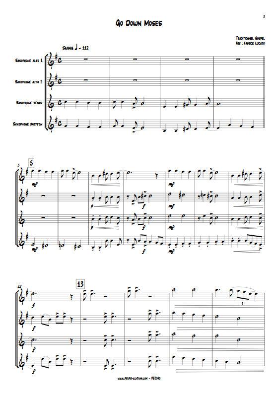 Go Down Moses - Quatuor de Saxophones - TRADITIONNEL GOSPEL - app.scorescoreTitle