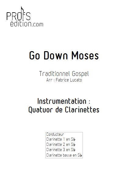 Go Down Moses - Quatuor de Clarinettes - TRADITIONNEL GOSPEL - front page
