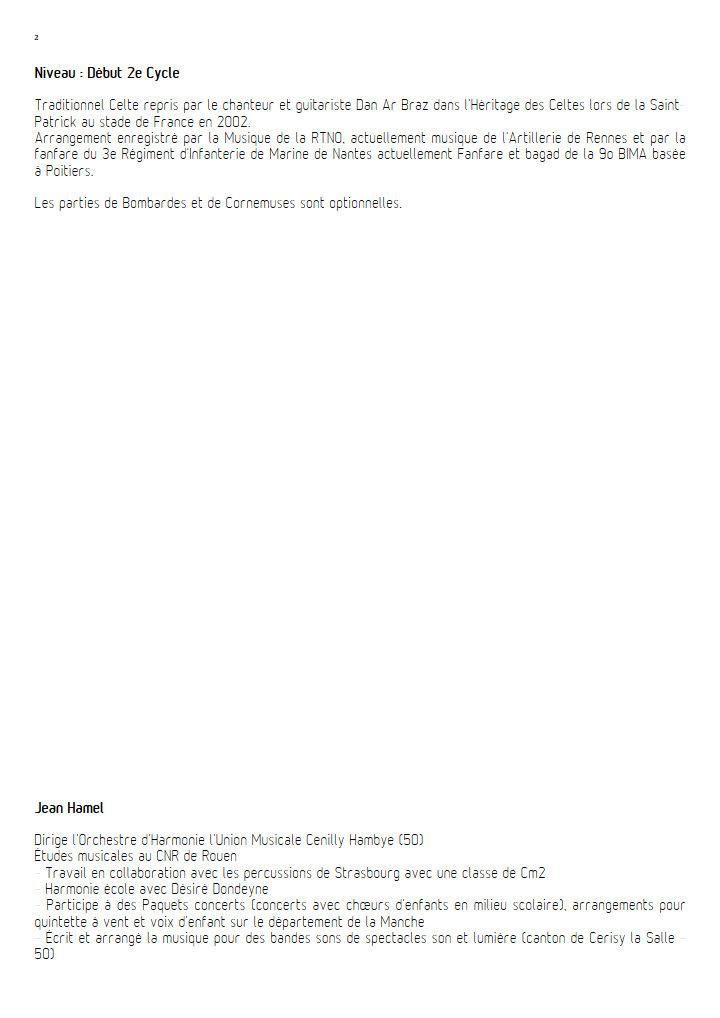 The Green Lands - Orchestre d'Harmonie - DAN AR BRAZ - Educationnal sheet