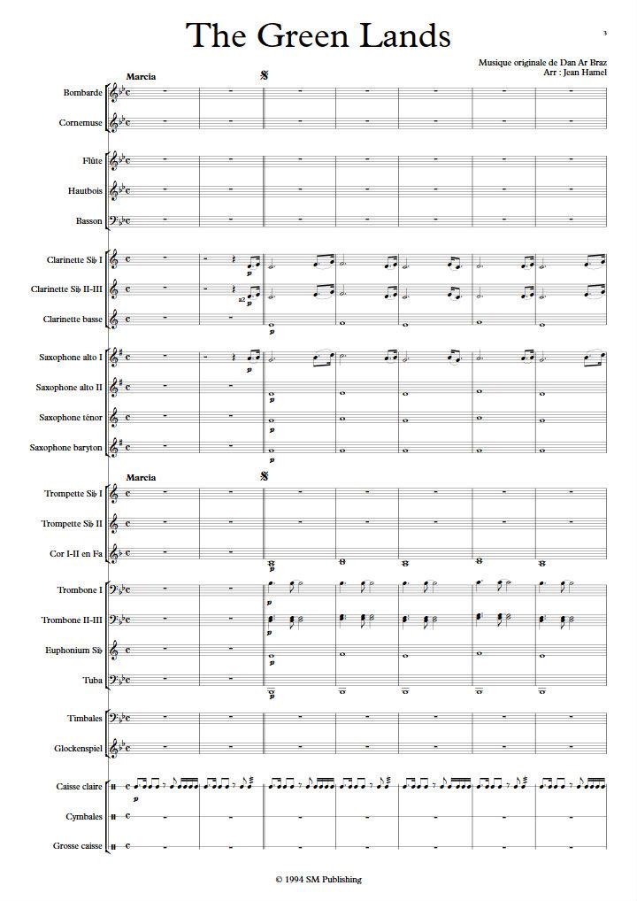 The Green Lands - Orchestre d'Harmonie - DAN AR BRAZ - app.scorescoreTitle