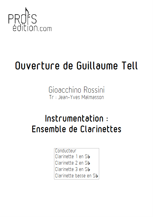 Guillaume Tell - Ensemble de Clarinettes - ROSSINI G. - front page
