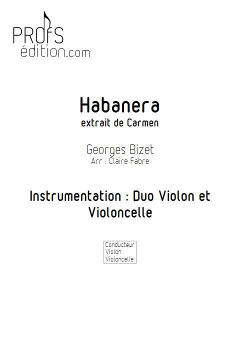 Habanera - Duo Violon Violoncelle - BIZET G. - front page