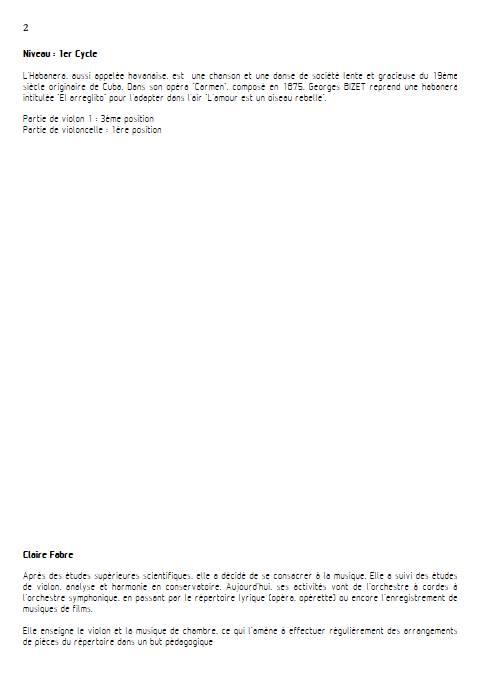 Habanera - Duo Violon Violoncelle - BIZET G. - Educationnal sheet