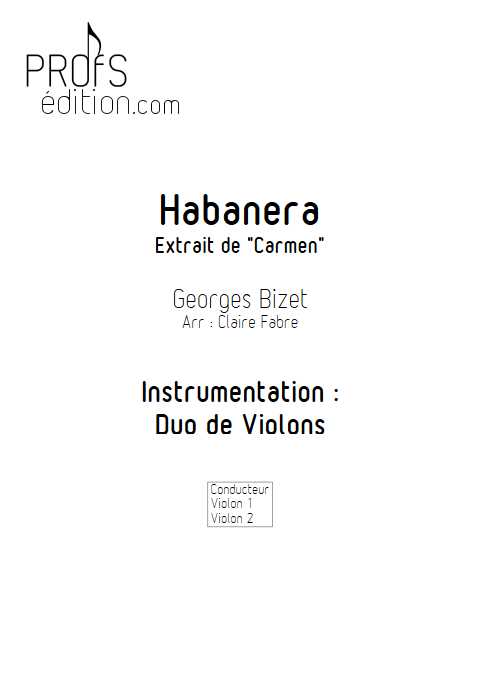 Habanera - Duo Violons - BIZET G. - front page