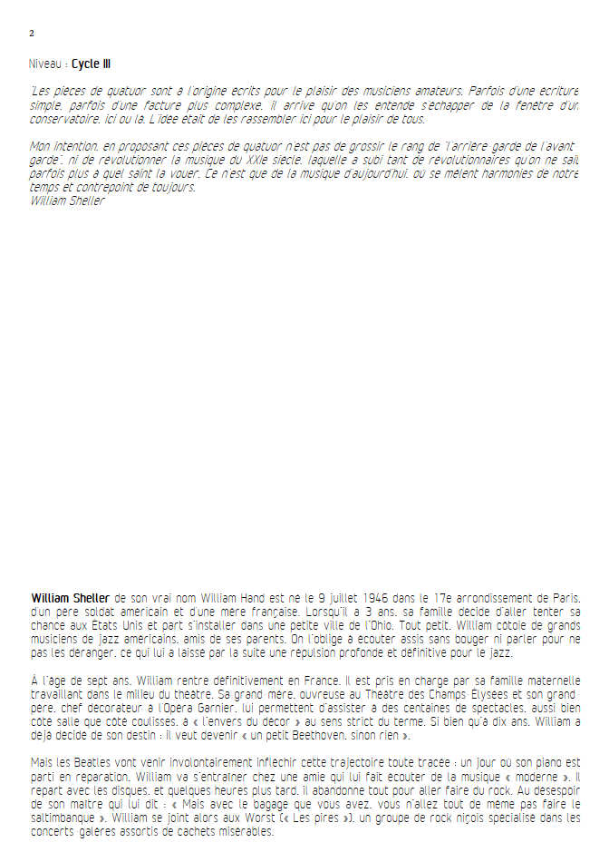 Hawaï Fifties - Quatuor à Cordes - SHELLER W. - Educationnal sheet