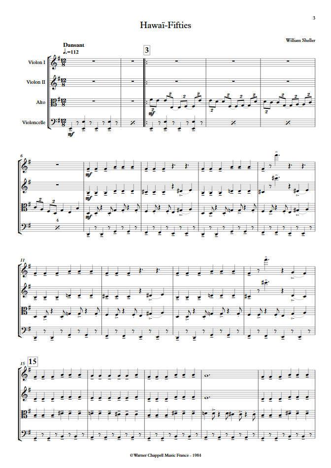 Hawaï Fifties - Quatuor à Cordes - SHELLER W. - app.scorescoreTitle