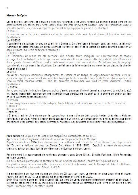 Histoires Naturelles - Chœur et Piano - NISSIM M. - Educationnal sheet