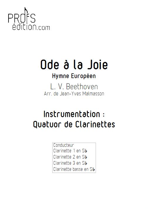 Hymne Européen - Quatuor de Clarinettes - BEETHOVEN L. V. - front page