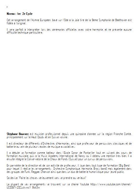 Hymne Européen - Orchestre d'Harmonie - BEETHOVEN L. V. - Educationnal sheet