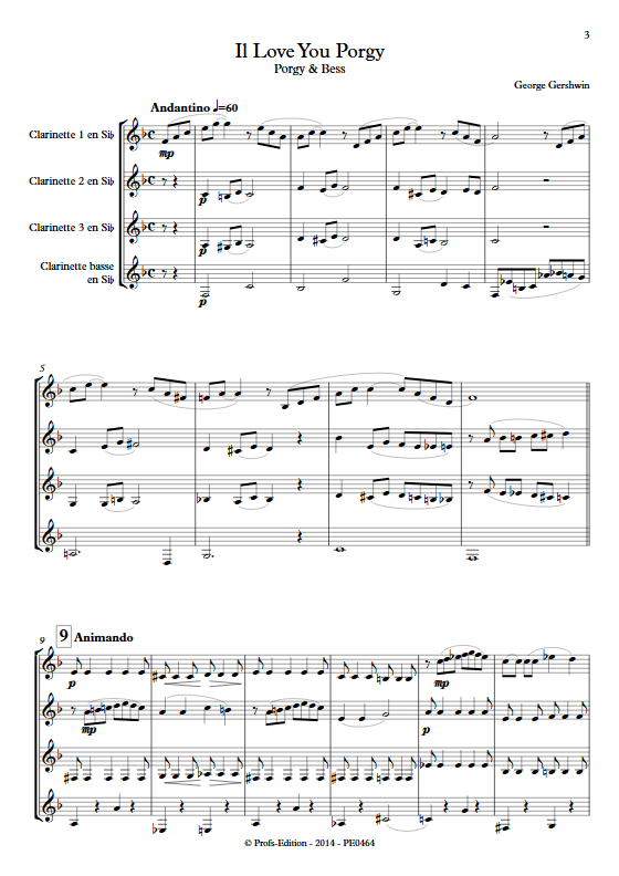 I Love You Porgy (Porgy and Bess) - Quatuor de Clarinettes- GERSHWIN G. - app.scorescoreTitle