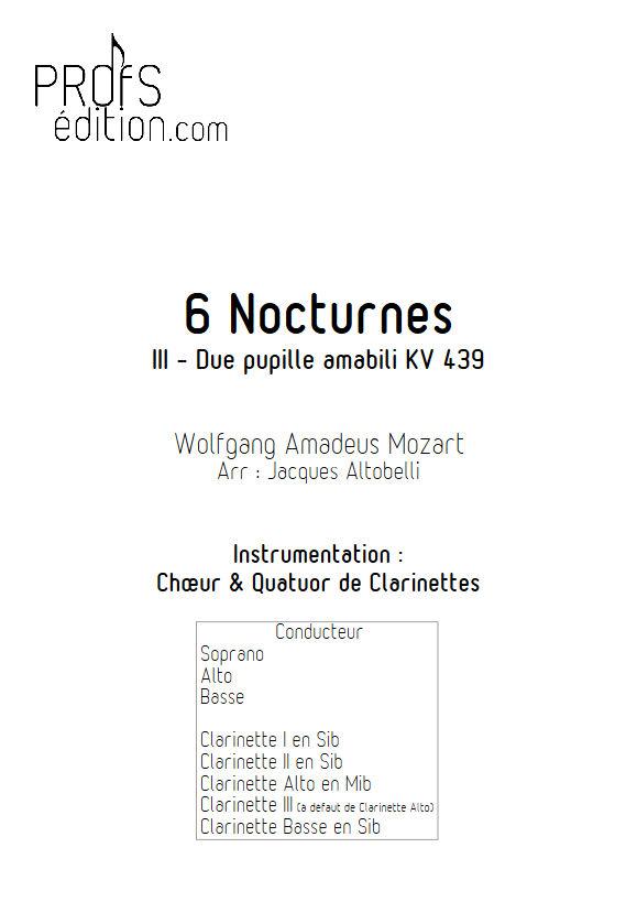 Due pupille amabili KV 439 - Chœur & Quatuor Clarinettes - MOZART W. A. - front page