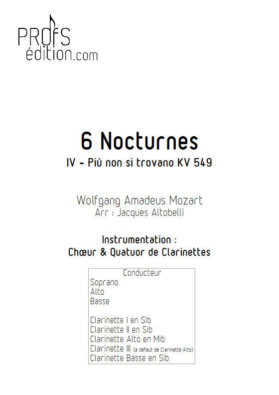 Più non si trovano KV 549 - Chœur & Quatuor Clarinettes - MOZART W. A. - front page