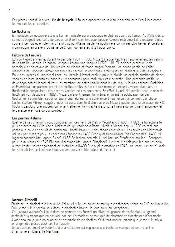 Più non si trovano KV 549 - Chœur & Quatuor Clarinettes - MOZART W. A. - Educationnal sheet