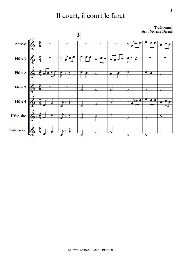 Il court le furet - Ensemble de Flûtes - TRADITIONNEL - app.scorescoreTitle