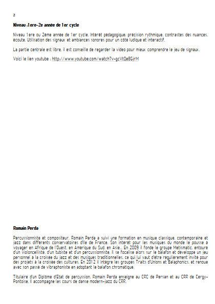 Intempéries - Sextette Percussions - PERDA R. - Educationnal sheet
