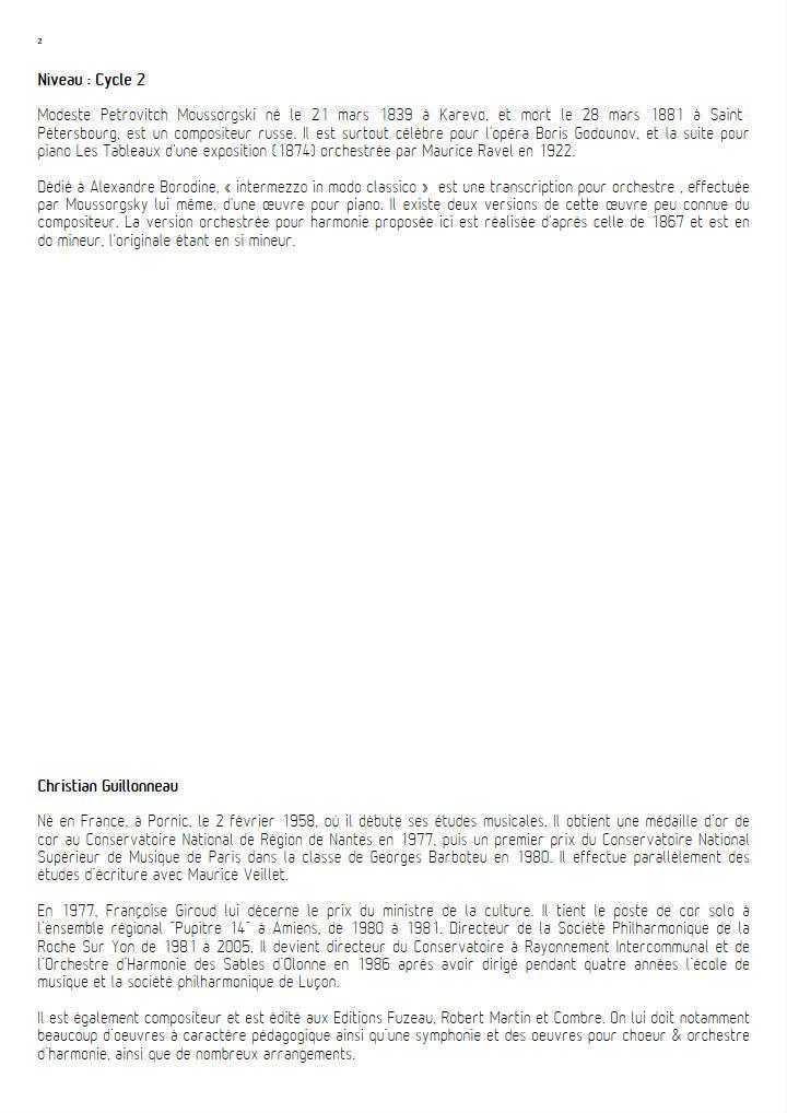 intermezzo in modo classico - Orchestre Harmonie - MOUSSORGSKY M. - Educationnal sheet
