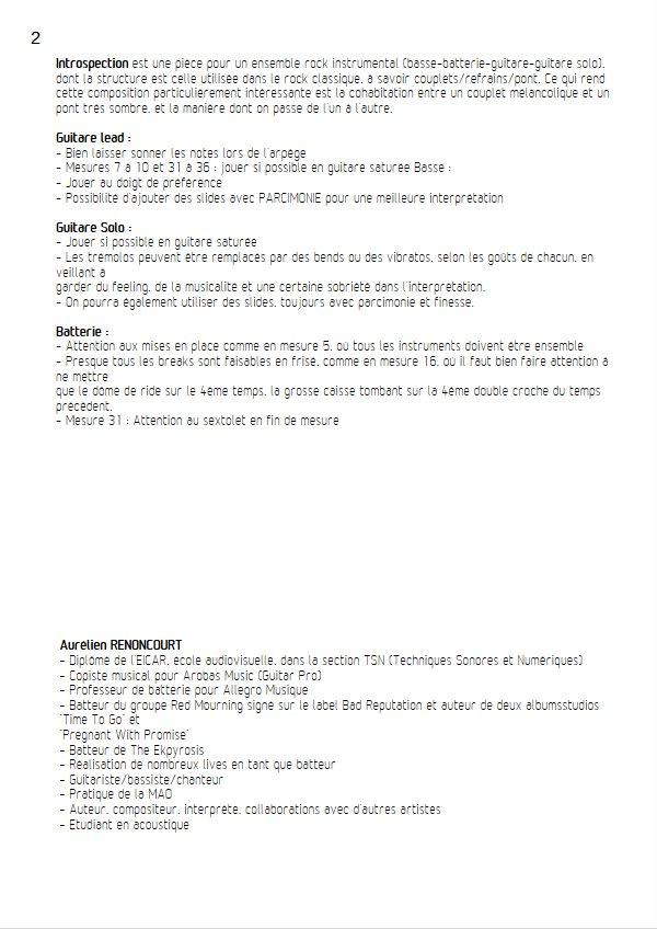 Introspection - Quartet Rock - RENONCOURT A. - Educationnal sheet