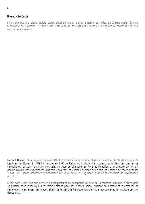 Irish suite ensemble - Ensemble de Saxophones - TRADITIONNEL IRLANDAIS - Educationnal sheet