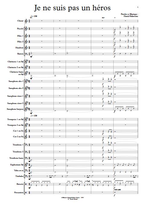 Je ne suis pas un héros- Orchestre d'Harmonie - BALAVOINE D. - app.scorescoreTitle