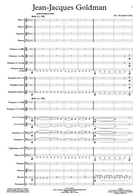 Jean-Jacques Goldman - Orchestre d'harmonie - GOLDMAN J. J. - app.scorescoreTitle