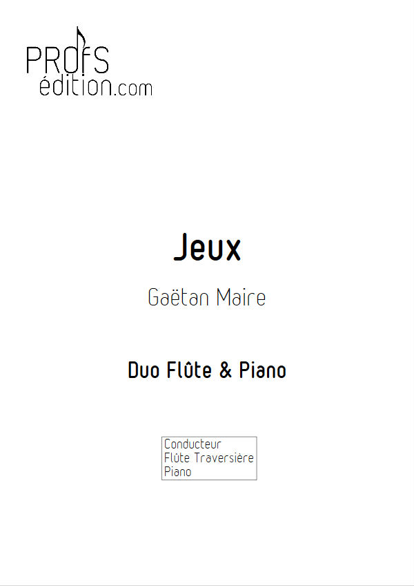 Jeux - Duo Flûte & Piano - MAIRE G. - front page