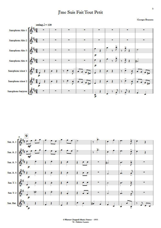 J'me suis fais tout petit - Ensemble de Saxophones - BRASSENS G. - app.scorescoreTitle
