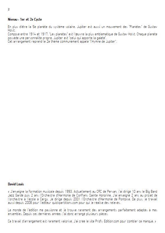 Jupiter - Ensemble Variable - HOLST G. - Educationnal sheet