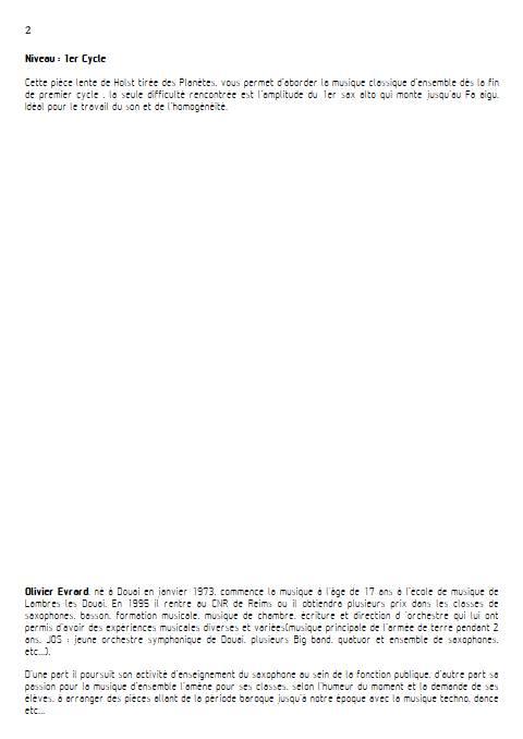 Jupiter Hymn - Ensemble de Saxophones - HOLST G. - Educationnal sheet