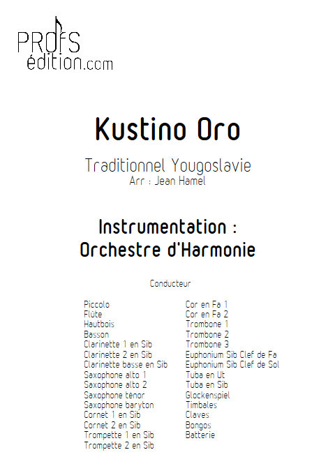 Kustino Oro - Orchestre d'Harmonie - TRADITIONNEL - front page