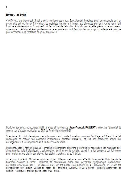 Kvara - Ensemble Variable - PAULEAT J. F. - Educationnal sheet