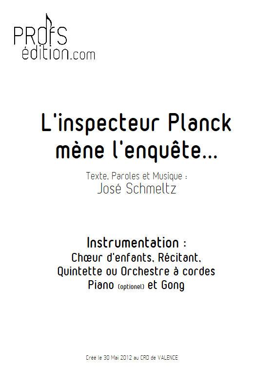 L'inspecteur Planck mène l'enquête - Orchestre Cordes - SCHMELTZ J. - front page