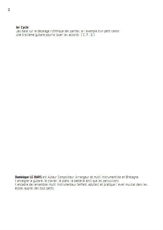 Le Vent - Duos Guitare - LE BARS D. - Educationnal sheet