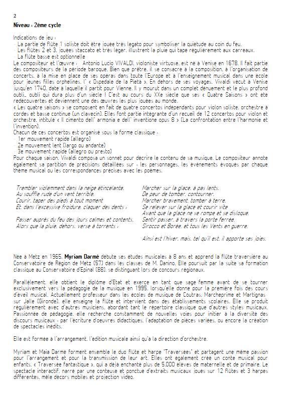 L'Hiver 2e mvt - Ensemble de Flûtes - VIVALDI A. - Educationnal sheet