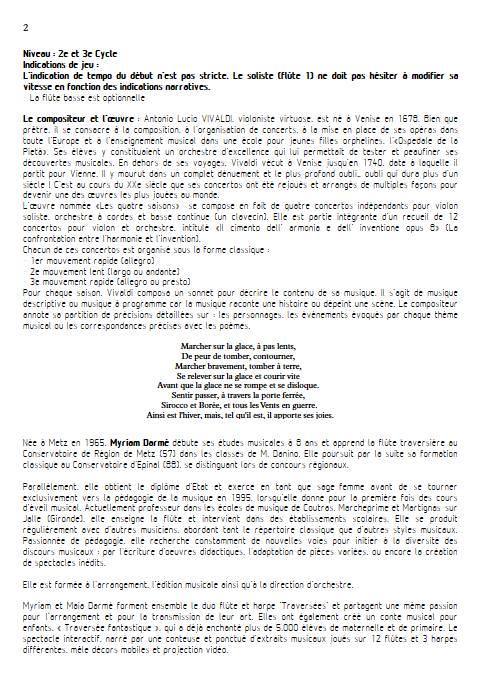 L'hiver - 3e mvt - Ensemble de Flûtes - VIVALDI A. - Educationnal sheet