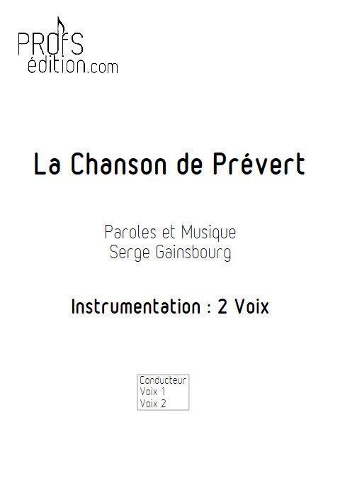 La Chanson de Prévert - Chœur 2 Voix - GAINSBOURG S. - front page