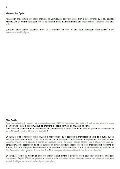 La Chanson de Prévert - Chœur 2 Voix - GAINSBOURG S. - Educationnal sheet
