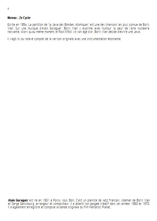 La Java des bombes Atomiques - Relevé Complet - VIAN B. - Educationnal sheet