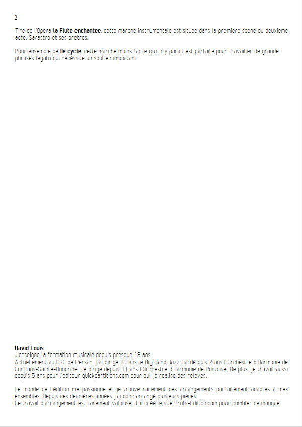 La Marche des Prêtres (La flûte enchantée) - Ensemble Géométrie Variable - MOZART W. A. - Educationnal sheet