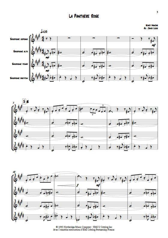 La Panthère Rose - Quatuor de Saxophones - MANCINI H. - app.scorescoreTitle