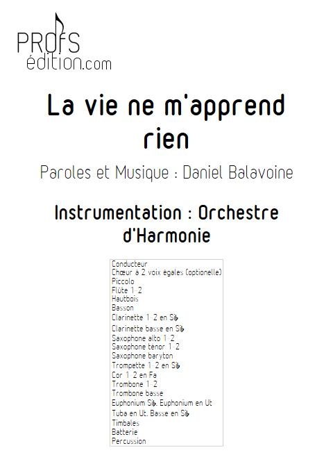 La vie ne m'apprend rien - Orchestre d'Harmonie - BALAVOINE D. - front page
